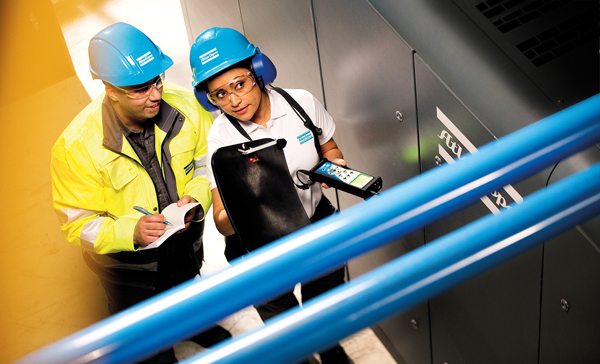 Mit einem Airscan werden Lecks in Druckluftleitungen schnell und eindeutig geortet.